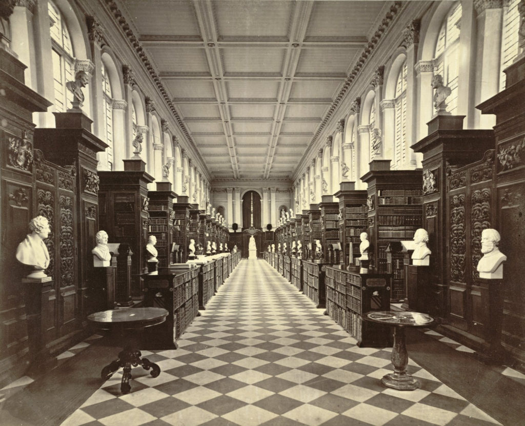 A photo of a hallway at Trinity College.
