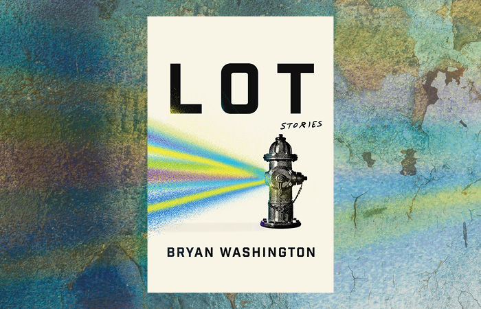 An image depicting the cover of Bryan Washington's LOT, which is itself a fire hydrant spraying spray paint