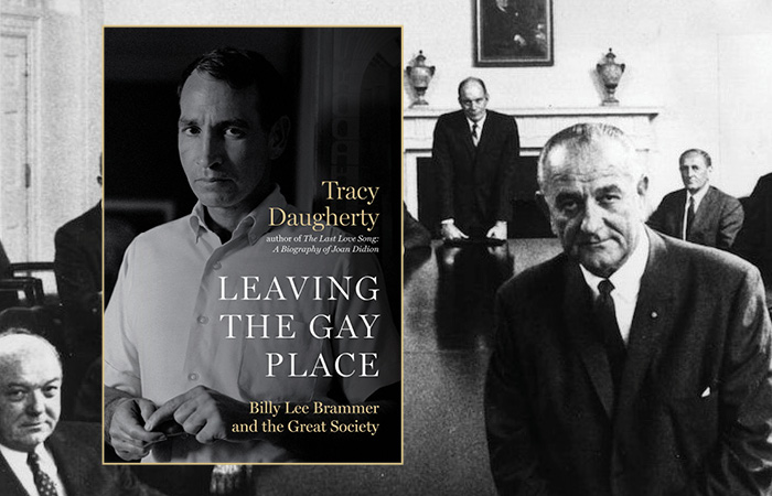 Book jacket of Leaving the Gay Place overlays a photo of LBJ's presidential cabinet.