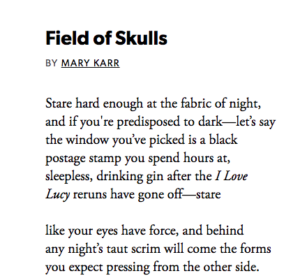 Opening stanzas of Mary Karr's Field of Skulls
