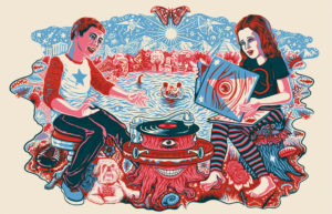 Illustration of two people sitting near a surreal record player.
