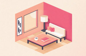 An illustration of a small, trendy apartment.
